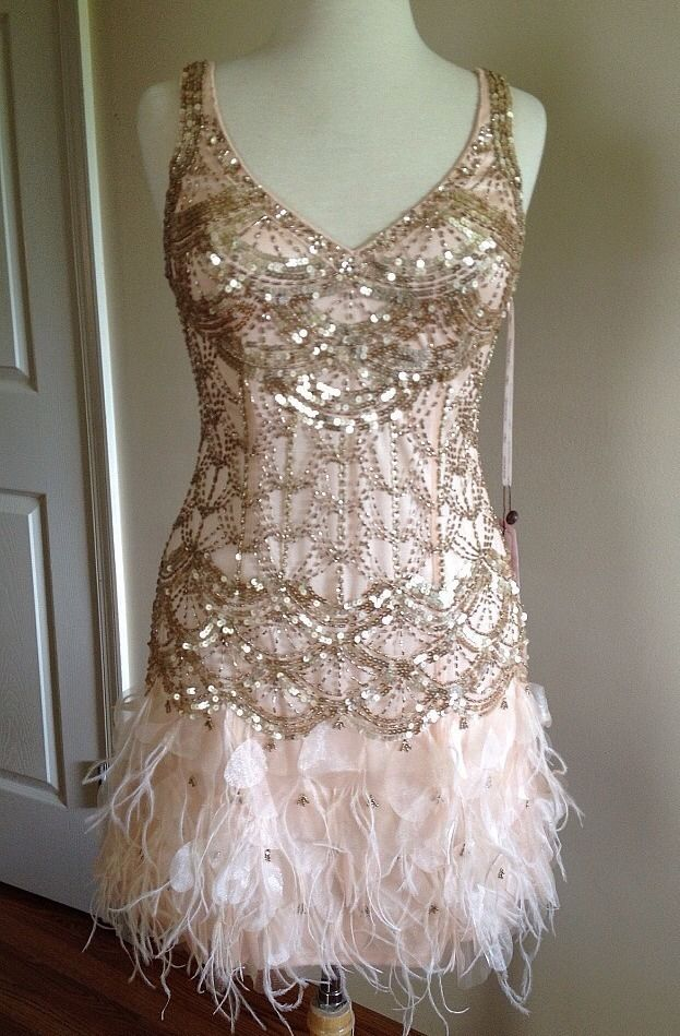 Sue wong gatsby blush sequin beaded feather bridal evening for The great gatsby wedding dresses