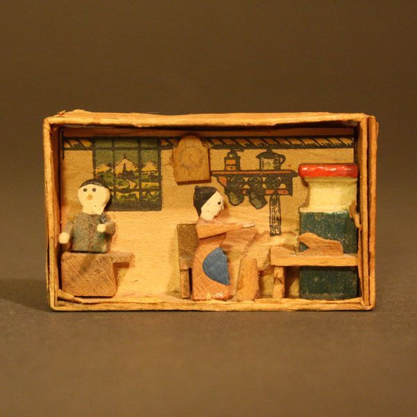 Kitchen Diorama Made Of Cereal Box: Antique Erzgebirge Matchbox Kitchen , Antique Dollhouse