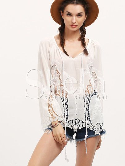 Shop White Bell Sleeve Lace Blouse online. SheIn offers White Bell Sleeve Lace Blouse & more to fit your fashionable needs.