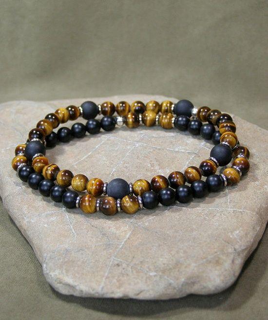 Bracelet For Men Mens Beaded Tiger Eye Stretch Jewelry Matt Onyx