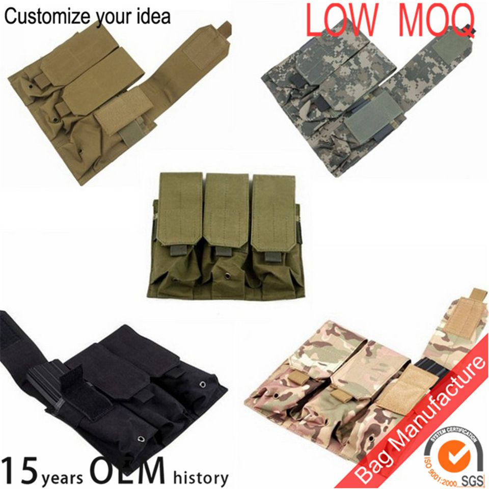 Tactical military Molle Hunting Tool Elastic Triple Magazines Pistol Pouch