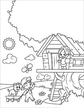 Ausmalbild Fruhling Kinder Im Baumhaus Malvorlagen Fur Madchen Lustige Malvorlagen Ausmalbilder Fruhling