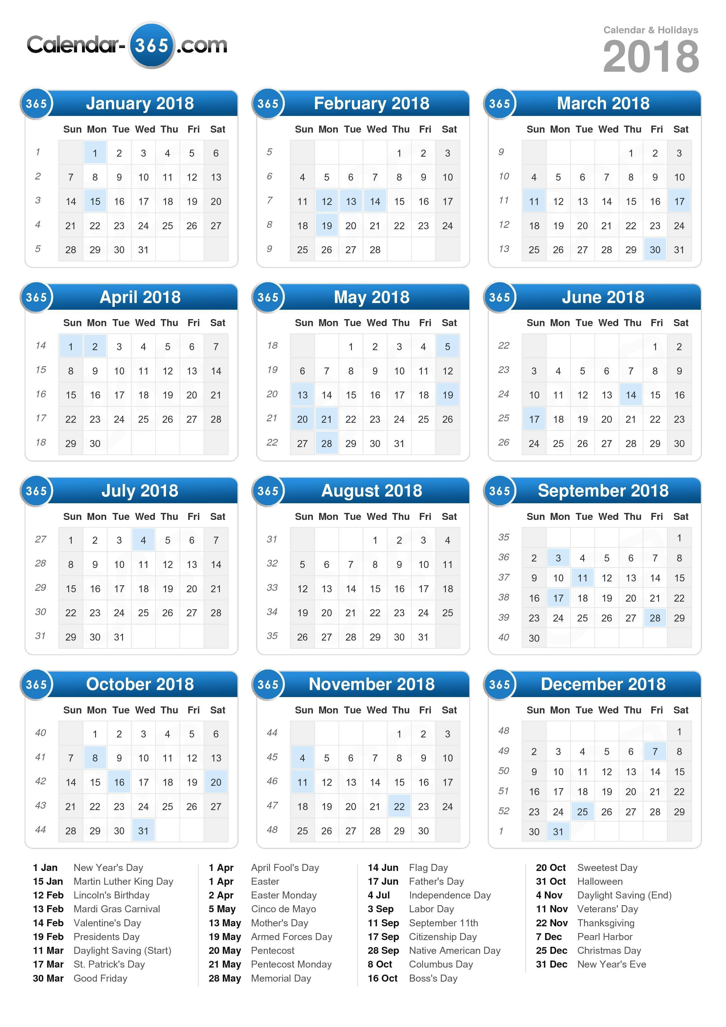2018 Calendar Portrait Format Print Calendar Calendar Template Calendar Printables