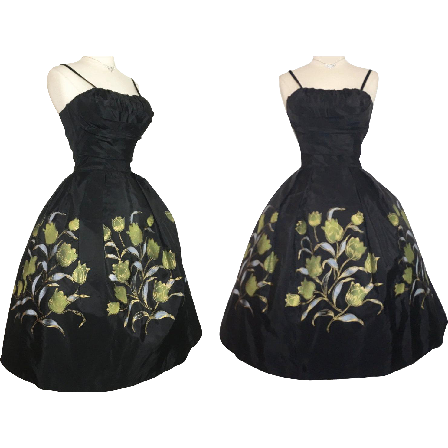 Vintage 1950s Dress 50 Floral Rockabilly Full Circle