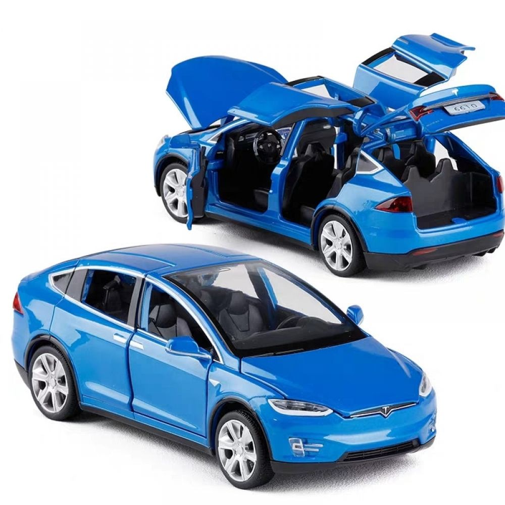 1 32 Tesla Model X Alloy Car Model With Pull Back Electronic Toy With Simulation Lights And Music Tesla Model X Car Model Toy Model Cars