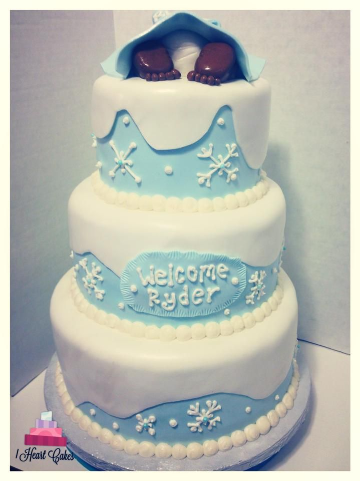 Captivating Winter Wonderland Baby Shower Cake