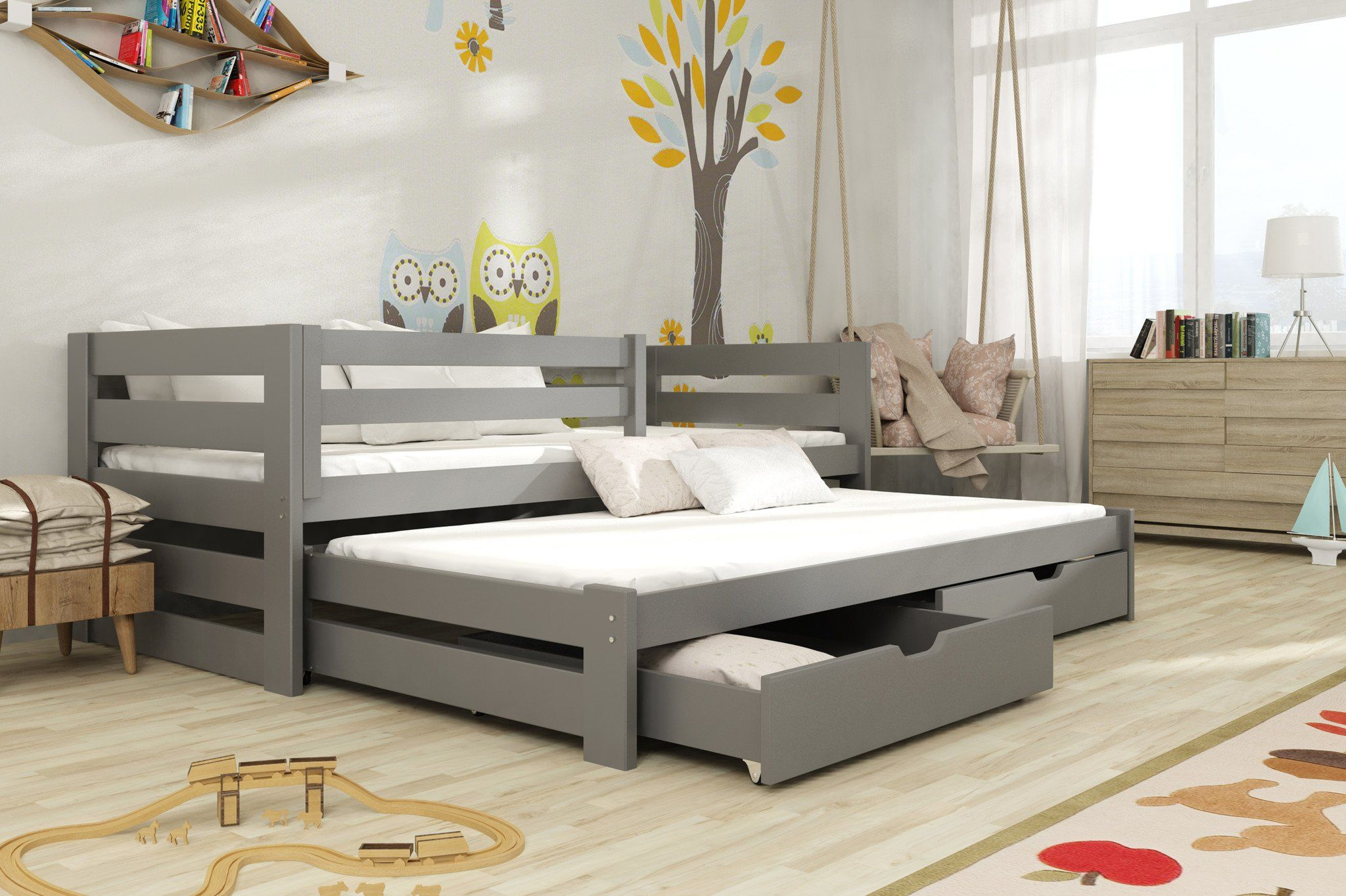 Wooden Double Bed Kubus With Trundle