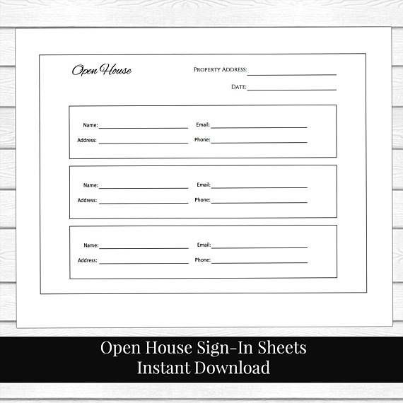 Guest sign in sheet, printable guest list, contact list, open house