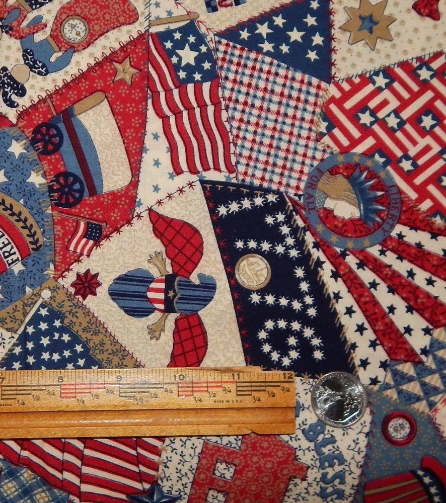Cotton quilt fabric patriotic americana 3 4 yd cheater quilt usa red white blue unbranded