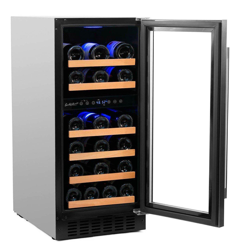 Smith Hanks 32 Bottle Dual Zone Stainless Steel Wine Fridge Rw88dr Built In Wine Refrigerator Wine Fridge Wine Cooler Dual zone wine cooler freestanding