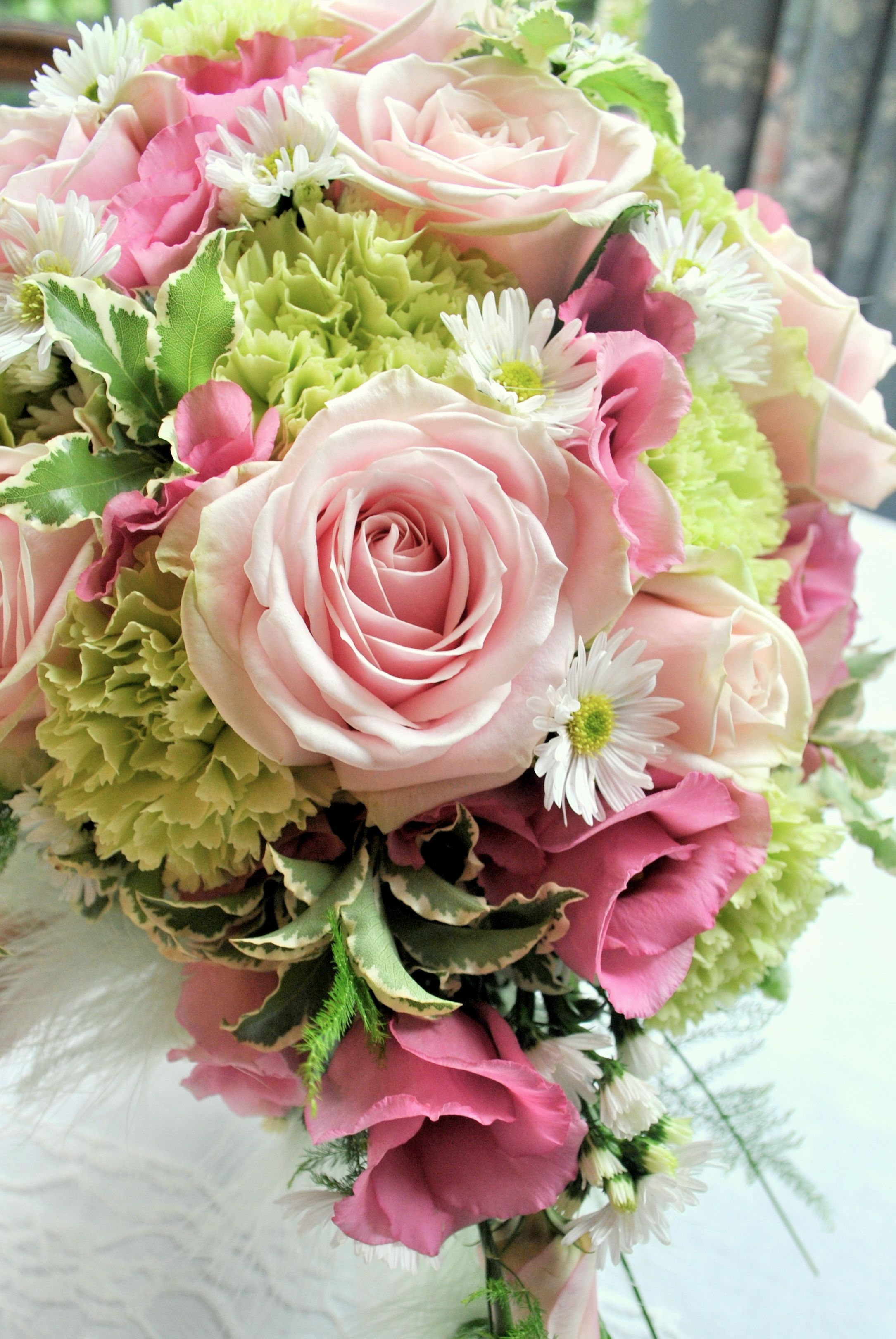 Shrigley Hall | Cheshire flowers softer pink & green with two pink ...