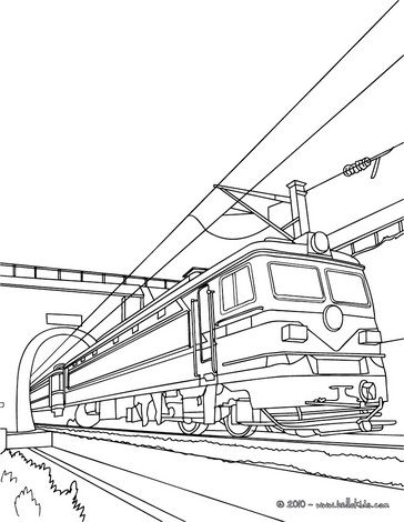Old electric train leaving a tunnel coloring book | dekoracijos ...
