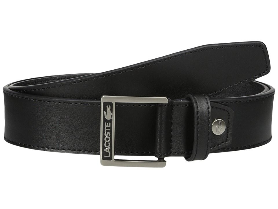 3ec3590ad7a63b LACOSTE LACOSTE - CLASSIC LOGO EMBOSSED BUCKLE BELT (BLACK) MEN S BELTS.   lacoste