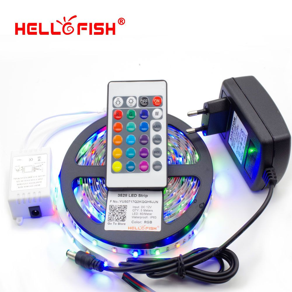 Led Light Strips With Remote 5M 3528 300 Smd Flexible Led Strip Light  24 Keys Ir Remote