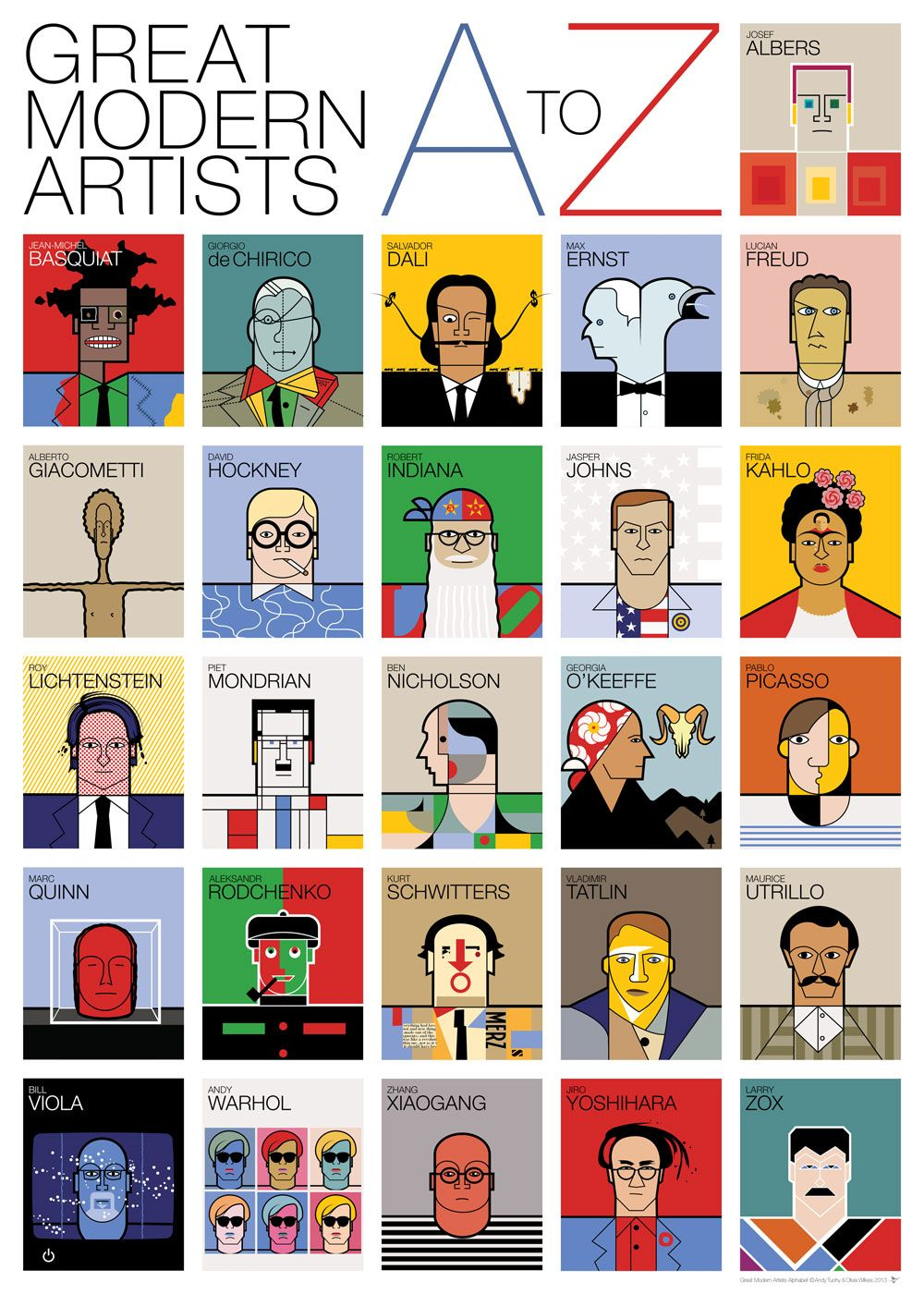39 a to z of great modern artists 39 by andy tuohy prints. Black Bedroom Furniture Sets. Home Design Ideas