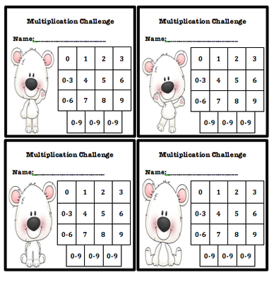 Multiplication Fluency Progress Chart Polar Bear Themed