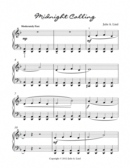 Midnight Calling An Exciting Piano Solo Sheet Music For Piano Recitals And Piano Festivals Composed For Level 2 Late Beg Blues Piano Piano Music Sheet Music