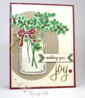 handmade Christmas card jar with green and red like the - christmas card layout