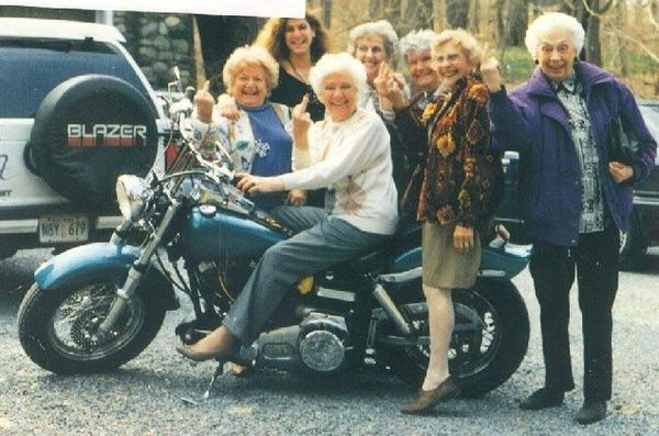 Old ladies flipping the bird. funny