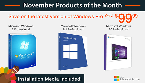 Deal of the Month trio! Get Windows 7 Pro, Windows 8.1 Pro, or Windows 10 with installation media for only $99.99! Visit : http://bit.ly/2fSUiy2