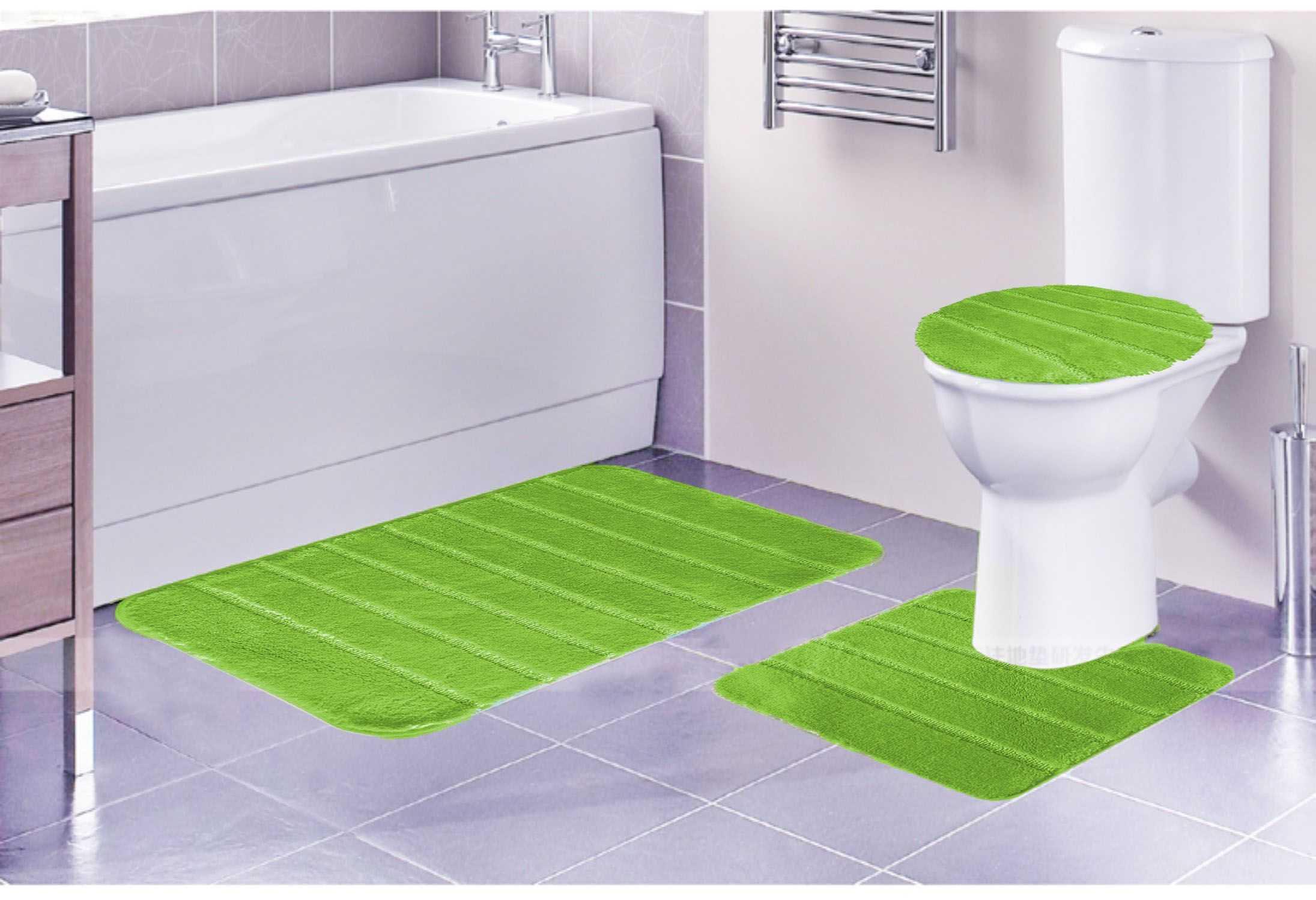 louise ribbed 3 piece bathroom rug set bath rug contour rug lid cover - 3 Piece Bathroom Rug Sets