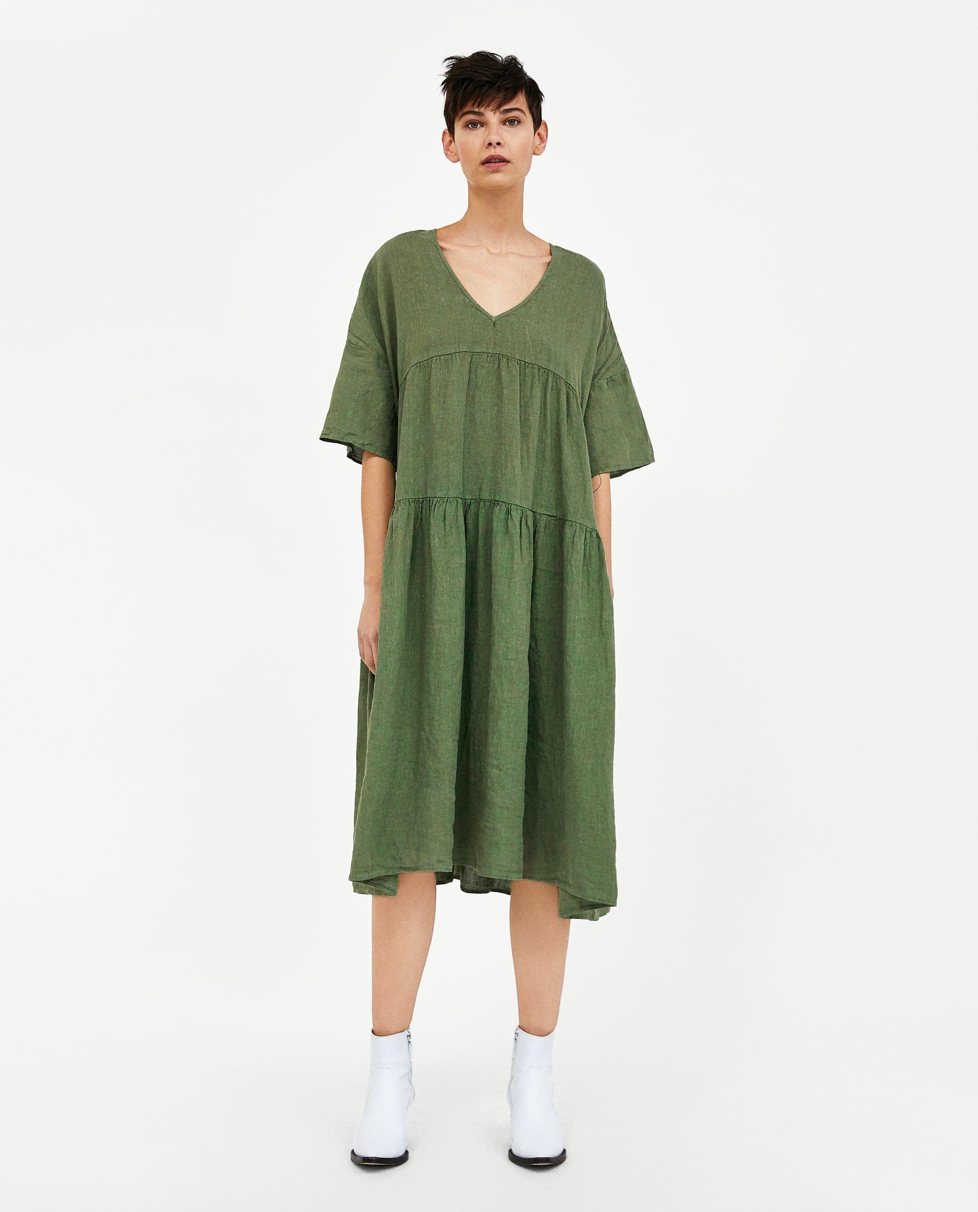 c6a9d425db ZARA - WOMAN - OVERSIZED LINEN DRESS