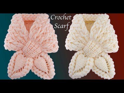 Bufanda a Crochet Puntos trenza Mariposa Punto de hojas en 3D tejido ...