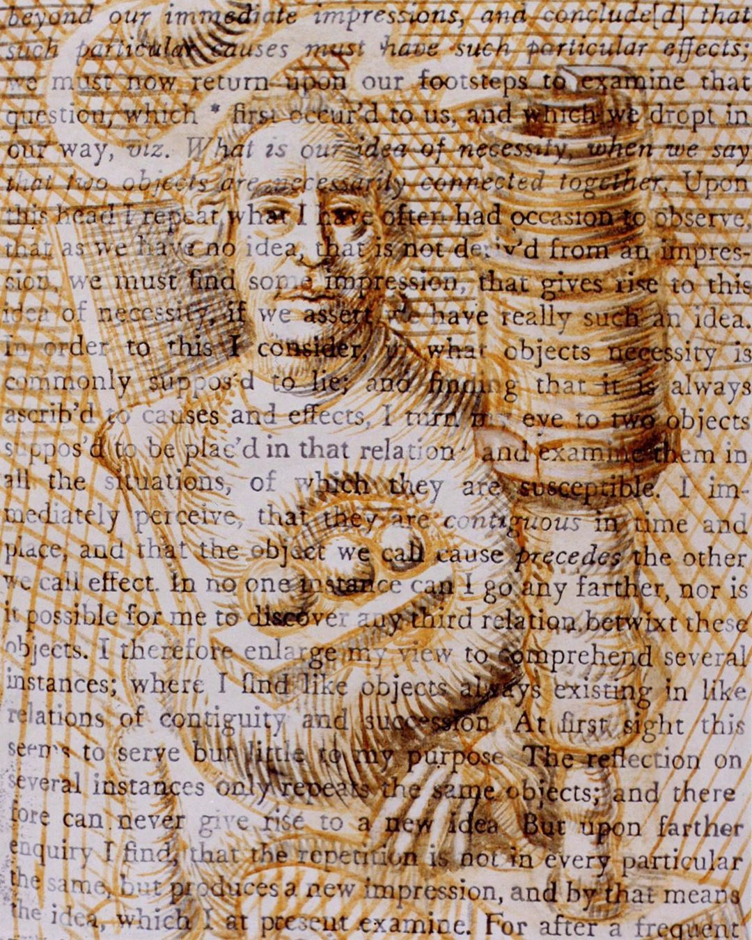 Of No Necessary Connexion Text Portrait Of Philosopher David Hume With Spark Plug Painted Oil On Canvas By Roy Ami Text Portrait Magazine Art Visual Illusion