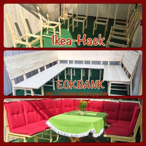 Diy Ikea Hack Aus 8 Stuhlen Wird Eine Grosse Eckbank Bzw Lounge Stickuhlinchen Ivar Stuhl Ikea Chair Ikea Diy Ikea Eckbank