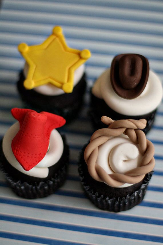 Cowboy Fondant Hat, Lasso, Bandana, and Sheriff Badge Toppers for Cupcakes, Cookies or other Treats on Etsy, $20.00
