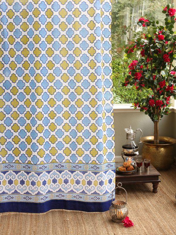 White Blue Curtain Moroccan Curtain Vintage Curtain Sheer