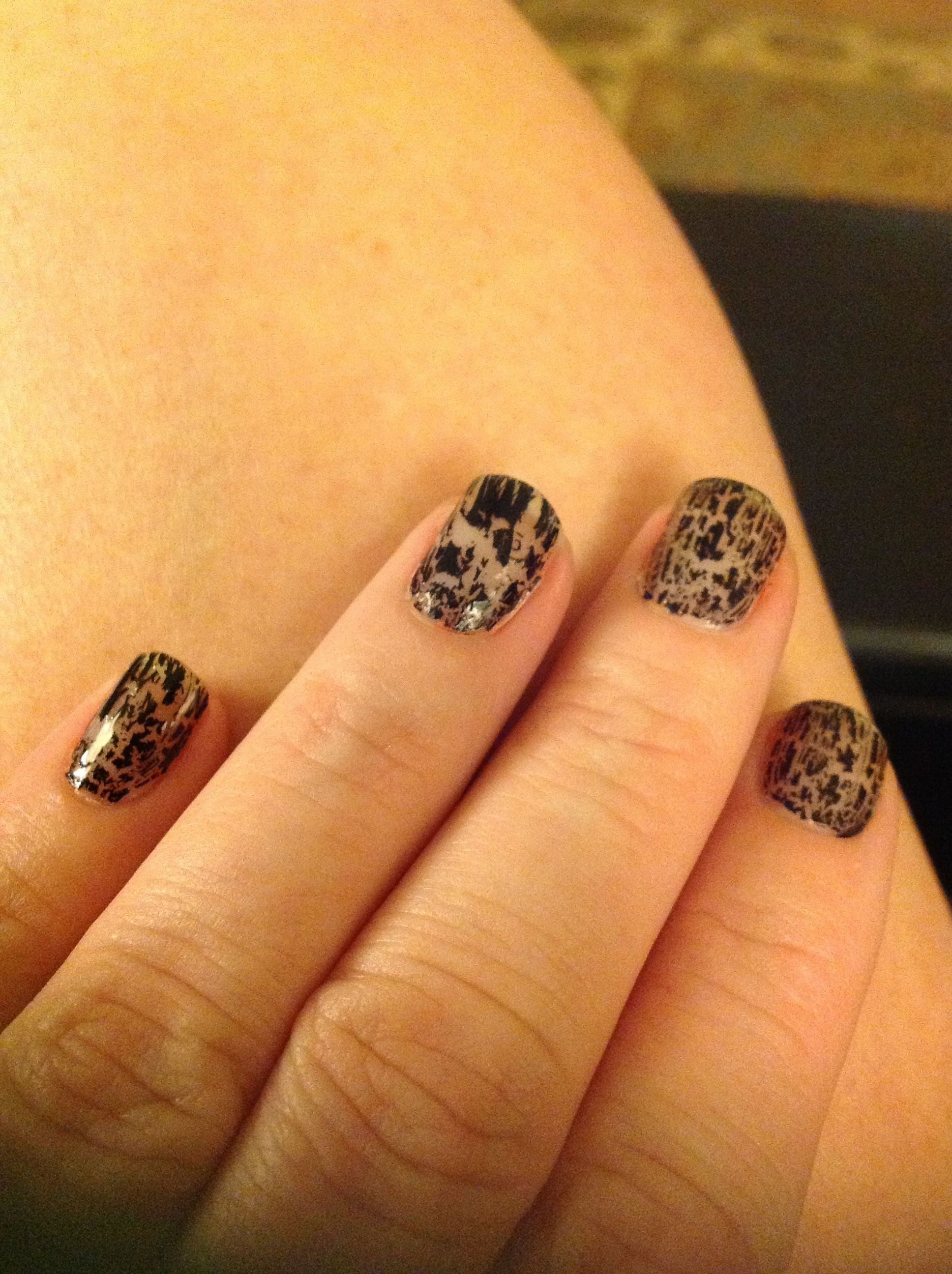 Crackle nails with a twist I put clear polish them black crackle ...
