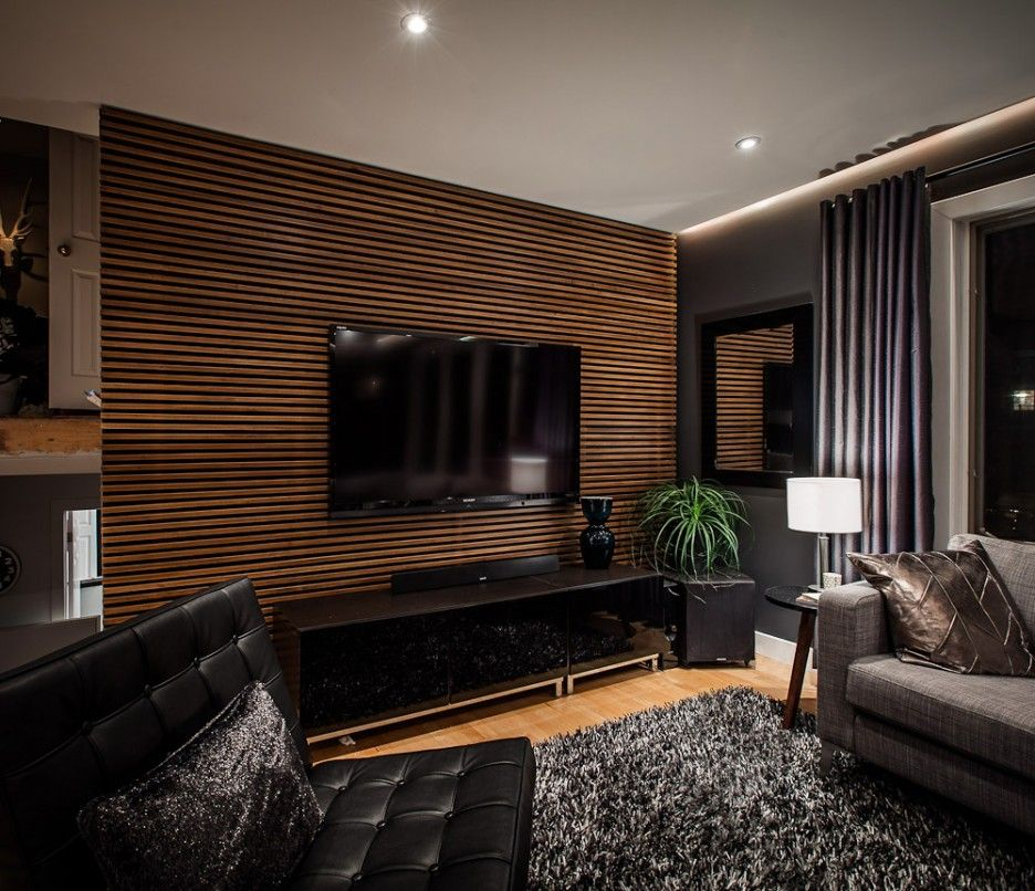 Impressive Living Room Wall Decor Include Wall Mounted Lcd Tv On Wood Slat Back Wall Design Accent Walls In Living Room Modern Living Room Black Wood Slat Wall