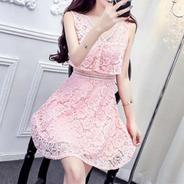 af59f0b6a30e White/Pink/Yellow/Black Sweet Lace Flower Dress SP1812578 - SpreePicky