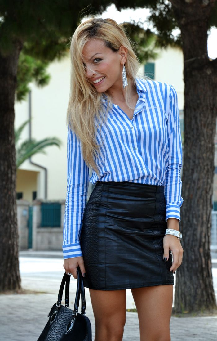 Mini Skirt Outfit Ideas | Leather skirt, striped Zara blouse and high heels  pumps -
