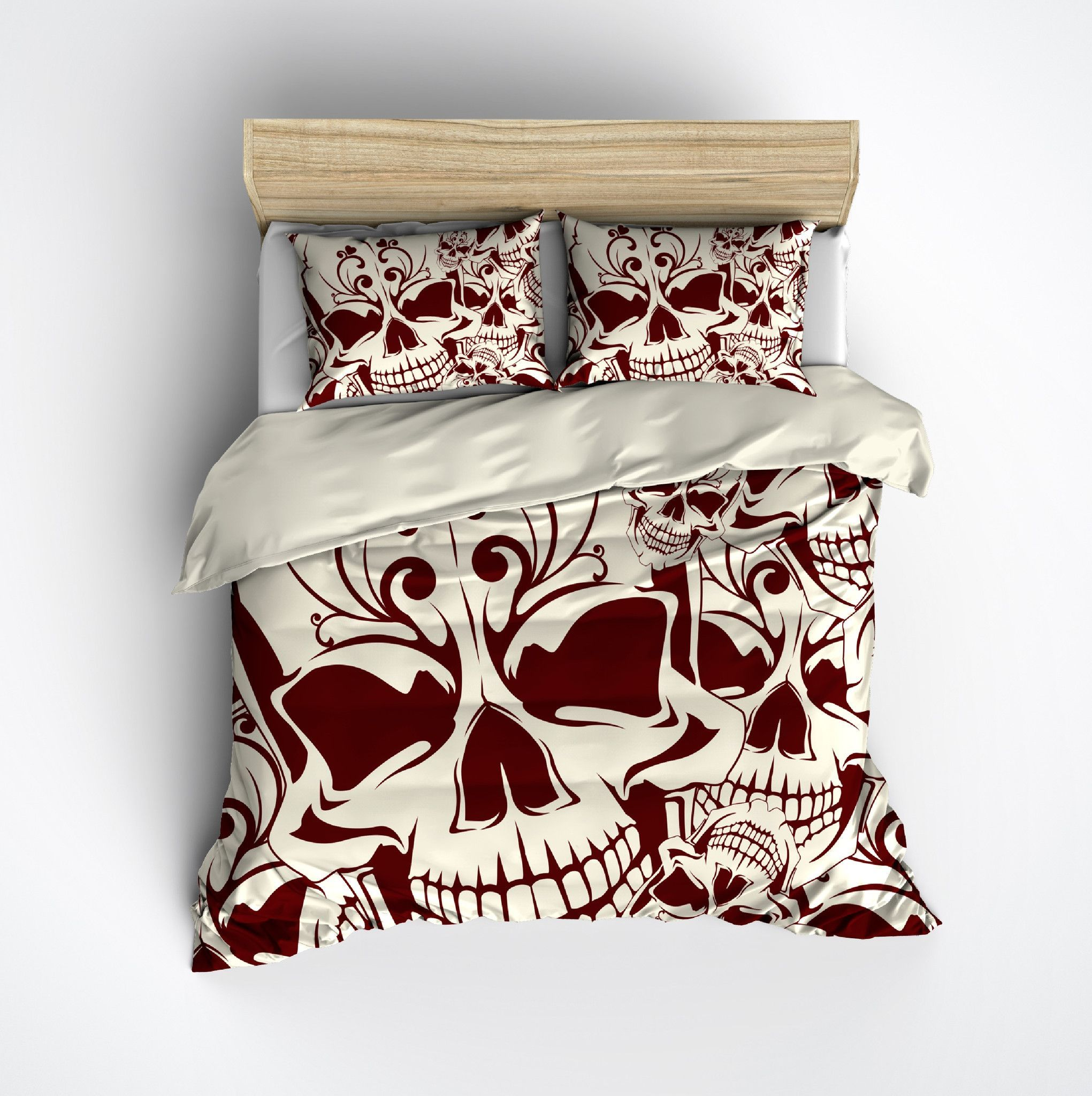 Red And Cream Mosaic Skull Bedding Cream