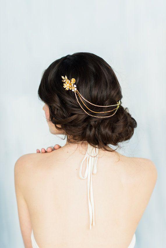 ce60e721f3eca Gold Flower Hair Chain, Gold Headpiece, Blush Hair Chain, Mint Hair ...
