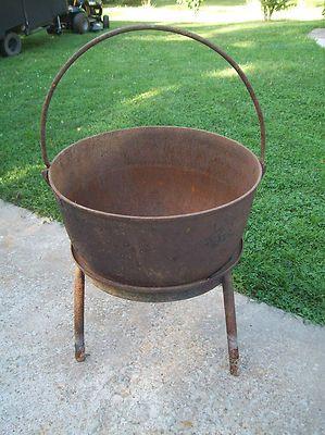 Antique Cast Iron Cauldron Pot Kettle