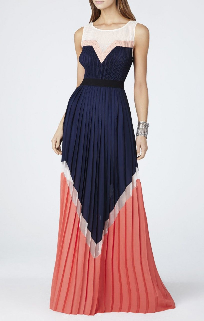 dac95ff76570f BCBG Max Azria KATHRINE PLEATED COLOR-BLOCKED LONG DRESS BLUE AND ...