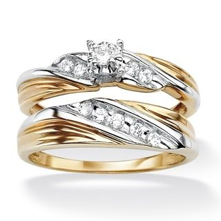 Popular  TCW Round Cubic Zirconia k Gold over Sterling Silver Bridal Engagement Ring Wedding by Palm Beach Jewelry