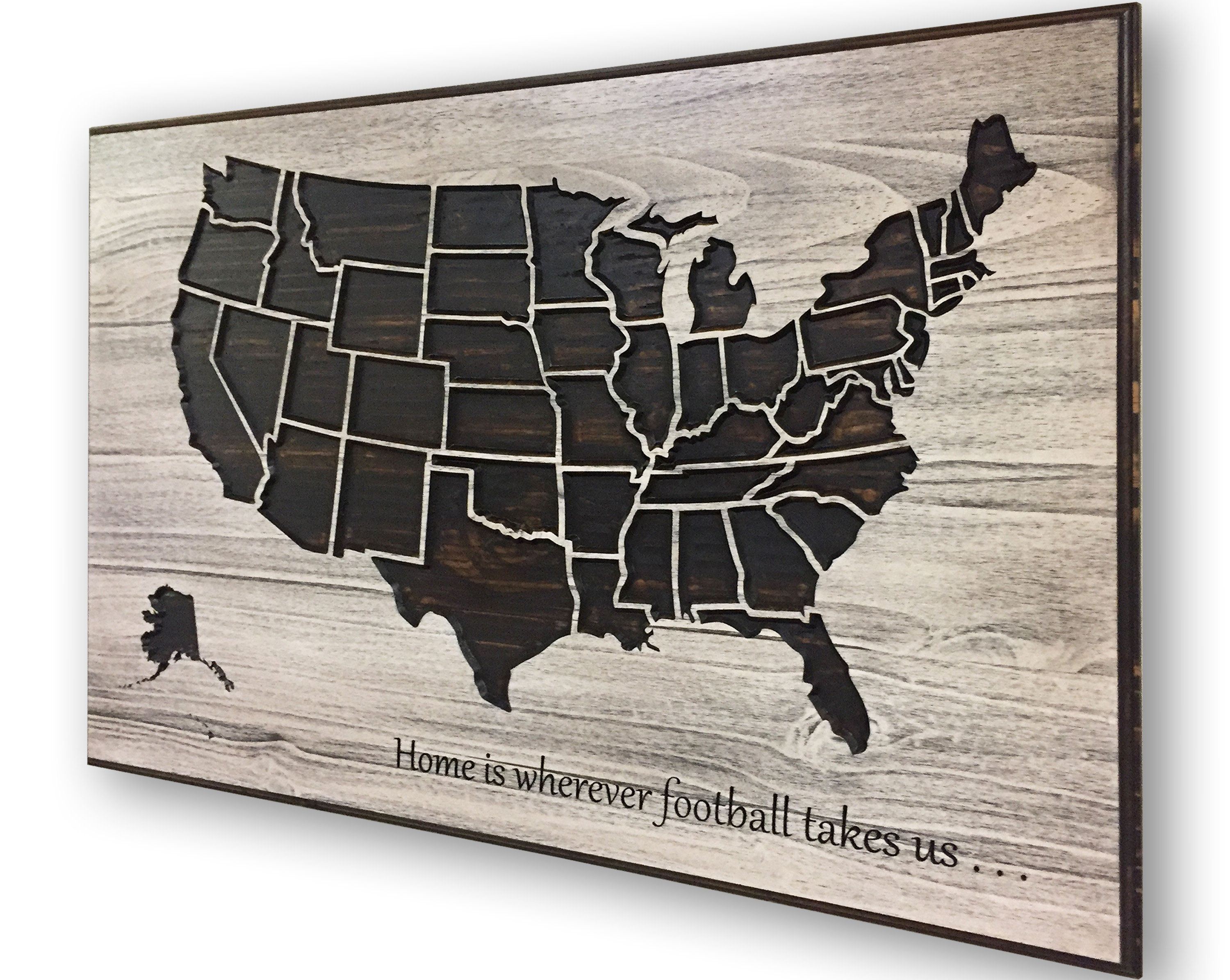 Football Push Pin Map, Track Stadiums Traveled to, US Map Art, NFL ...