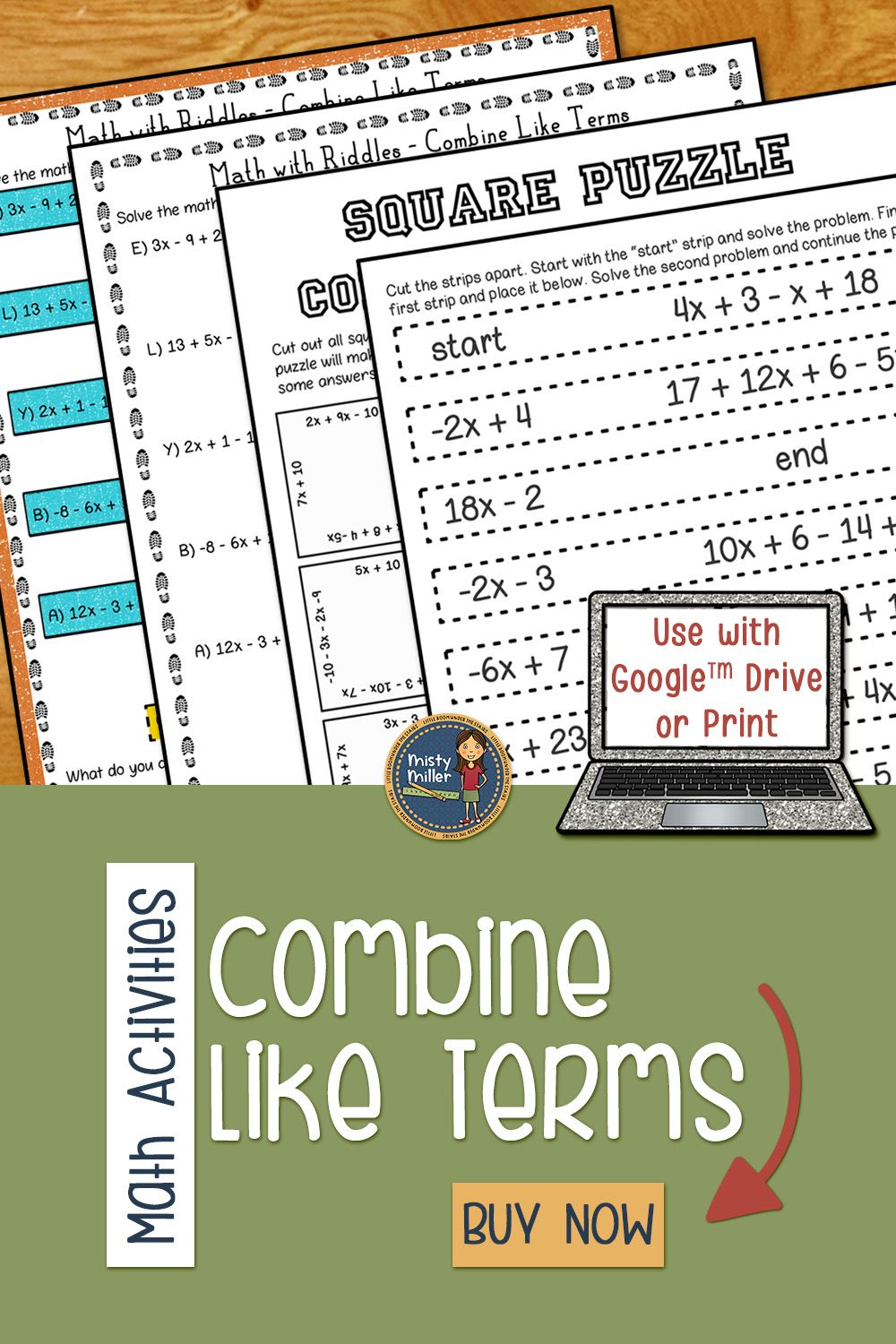 Combine Like Terms Math Activities Puzzles and Riddle