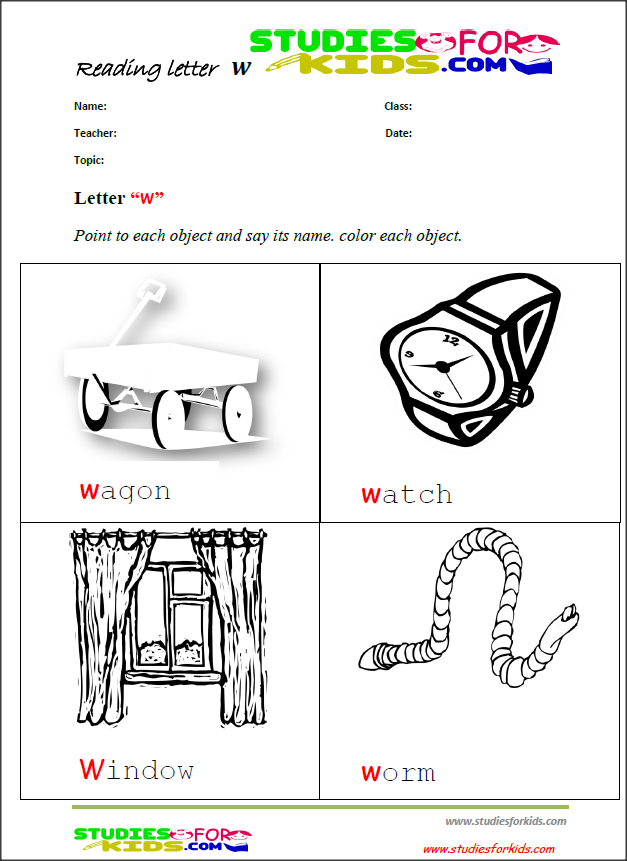 Letter W Reading Worksheets For Preschool  WwwStudiesforkidsCom