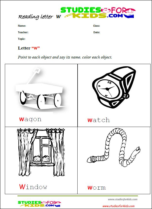 letter w reading worksheets for preschool Free printable