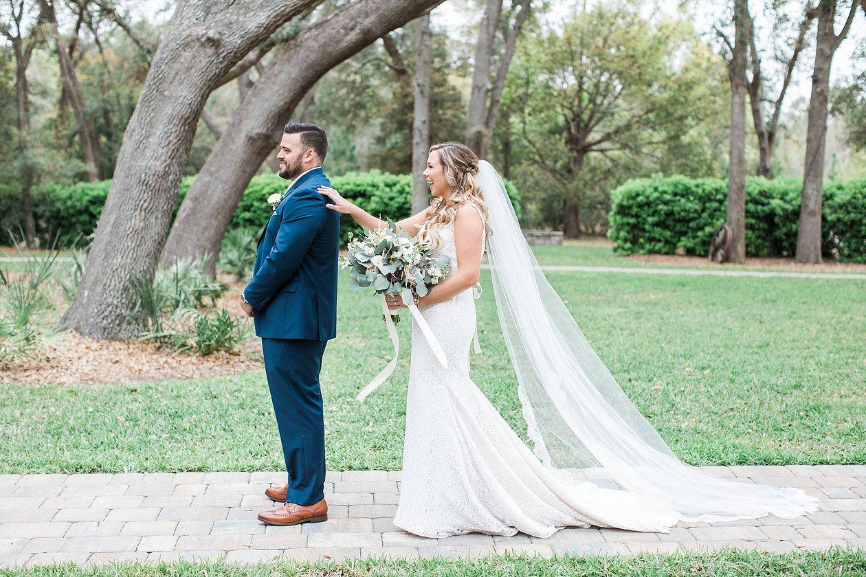 Bride and groom.Outdoor wedding ceremony. St Augustine