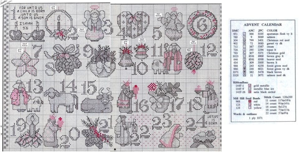 Country Advent 3/3 (Charts & floss color key} | Advent ideas | Cross