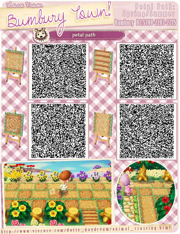 Petal paths spring summer animal crossing new leaf qr for Boden qr codes animal crossing new leaf