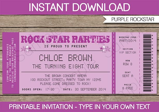 Rockstar Birthday Party Invitations Ticket invitation, Concert