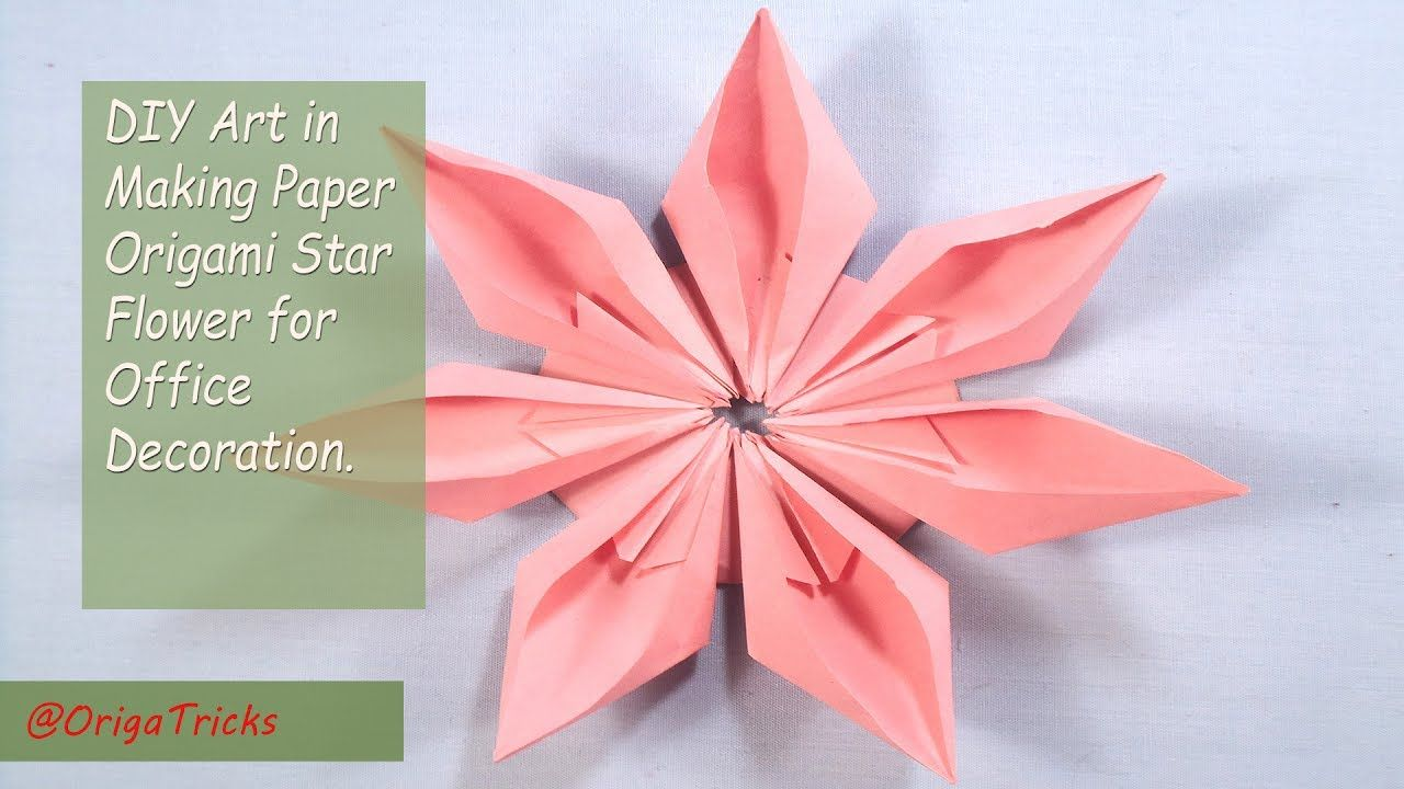 Origami star flower craft subscribe ultrafit sports diy art in making paper origami star flower for office decoration mightylinksfo