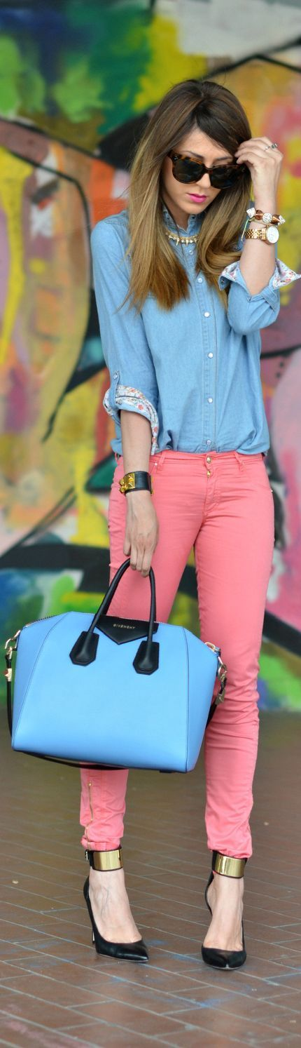 Calça Cor + Camisete jeans